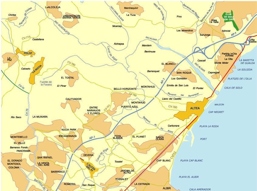 albir kart Spania: Kart over Albir albir kart