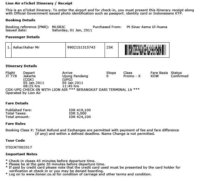 Cara Print Cetak Tiket Lion Air Tiket Pesawat
