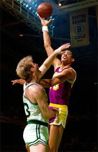 Larry Bird e Kareem Abdul-Jabbar / Foto: NBA