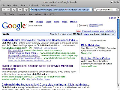 Shrinidhi Hande article on club mahindra tops search engines
