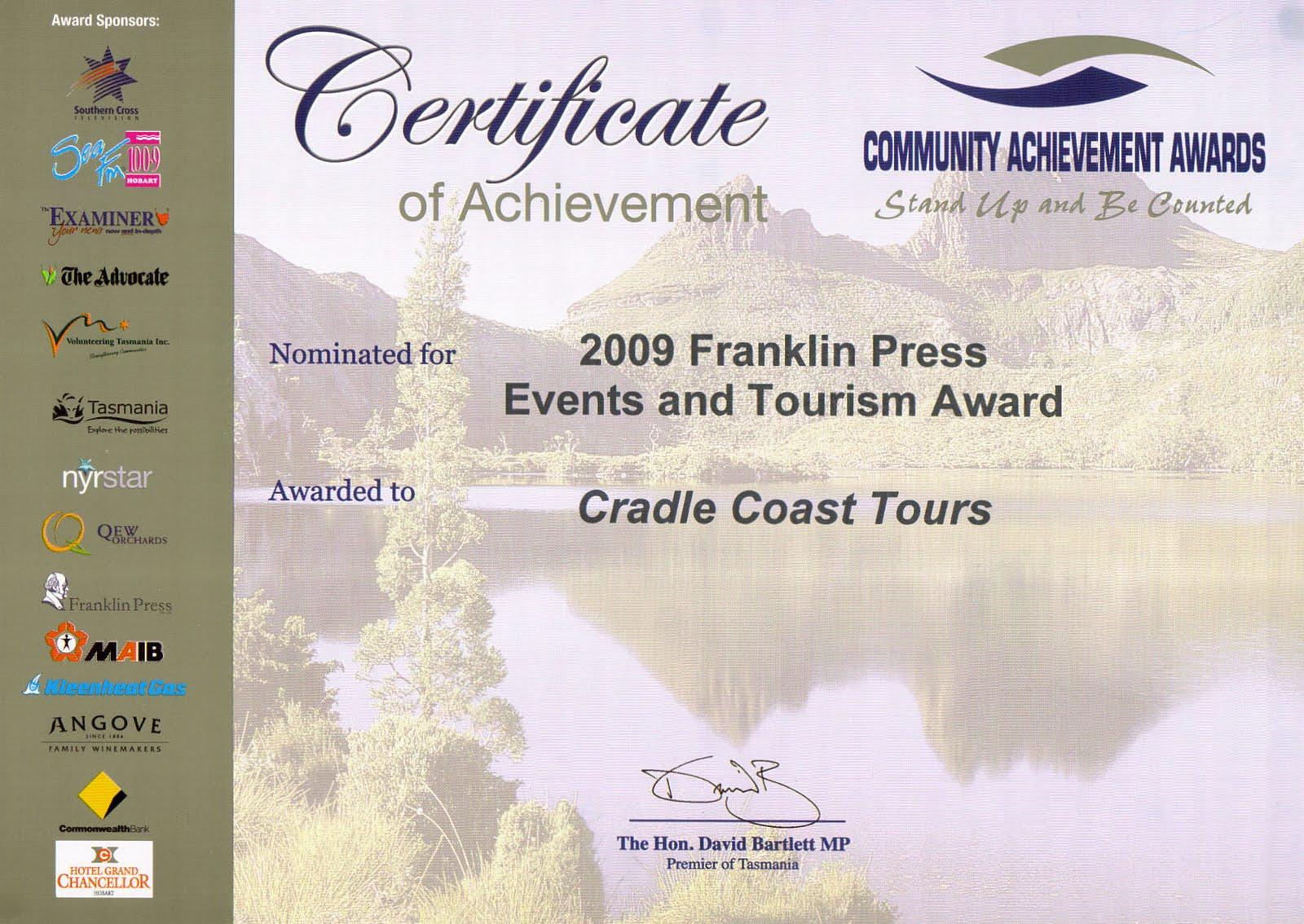 2009 Tourism Award
