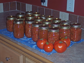 Canning Salsa with Garden Tomatoes, or… Two More Points for Hubby