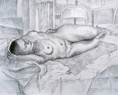 life drawing reclining nude