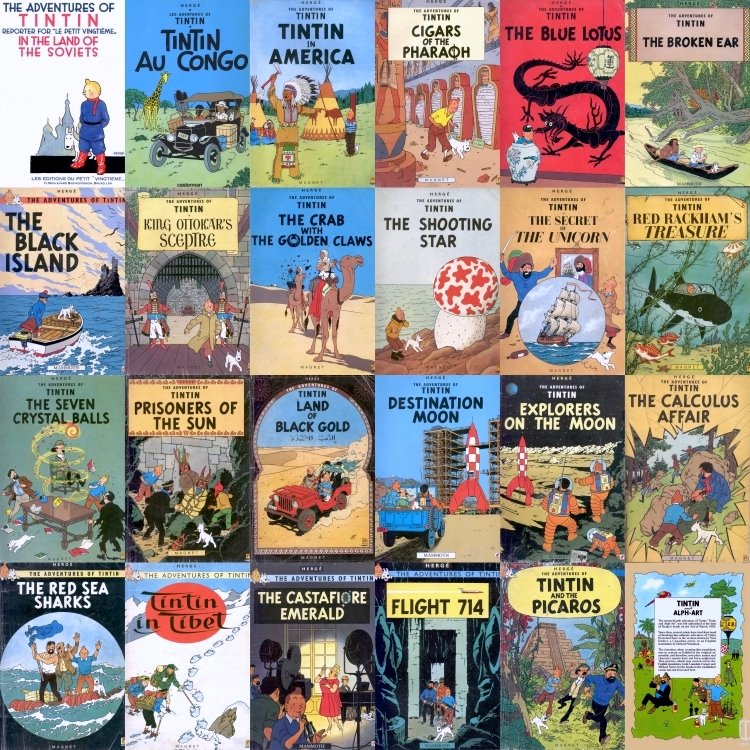 Collage of covers of The Complete Adventures of Tintin