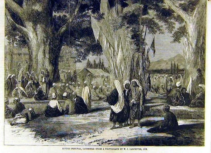 old image of kheer bhawani in kashmir