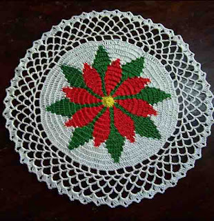 Poinsettia Placemats- Christmas Crochet Patterns.