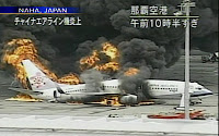 China Airlines B737-800 in flames