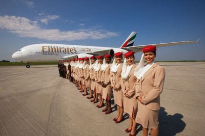 Emirates A380 and cabin crew