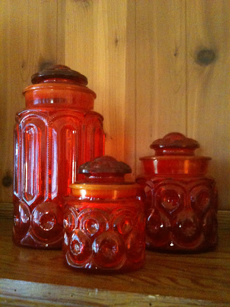 Ruby Moon and Star Glass Canister Set
