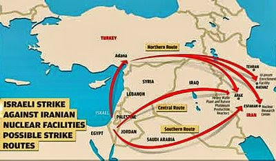 Possible Israeli attack routes