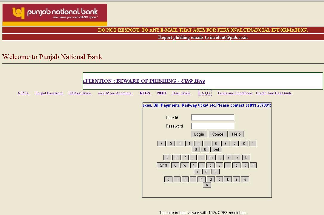 punjab national bank retail online banking