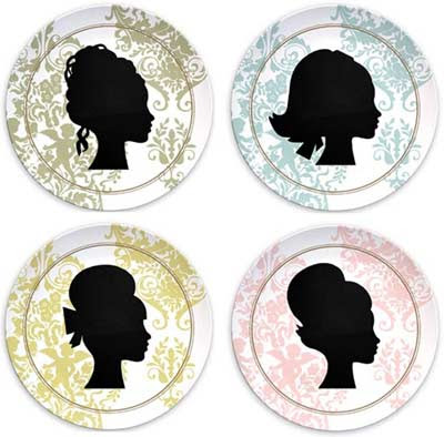 Silhouettes Of Women. Silhouettes melamine plate set