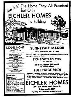A 1950 advertisement in the Daily Palo Alto Times newspaper for Eichler homes. Price was $9,400.
