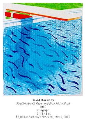 David Hockney Pool made with paper and blue ink for book, 1980