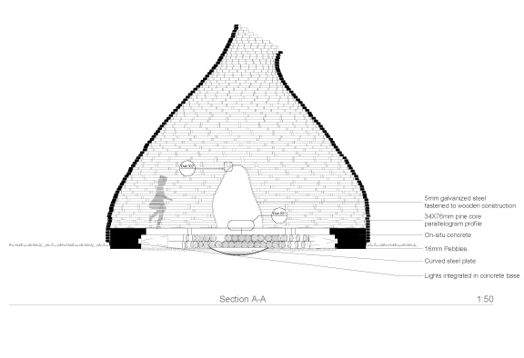side elevantion of outdoor fireplace by Haugen Zohar