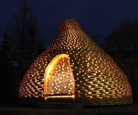 outdoor fireplace  by Haugen Zohar