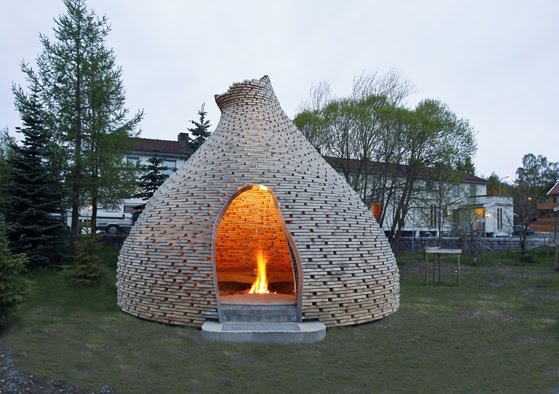 Outdoor Fireplace Inspired By Norwegian Turf Huts