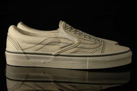 d3ee269136 The line art of a traditional perforated leather saddle shoe and that of a  classic tennis shoe printed on a plain natural canvas pair of Vans turn  these ...