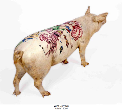 Above: Arielle, a stuffed tattooed pig from the exhibit at Galerie Emmanuel
