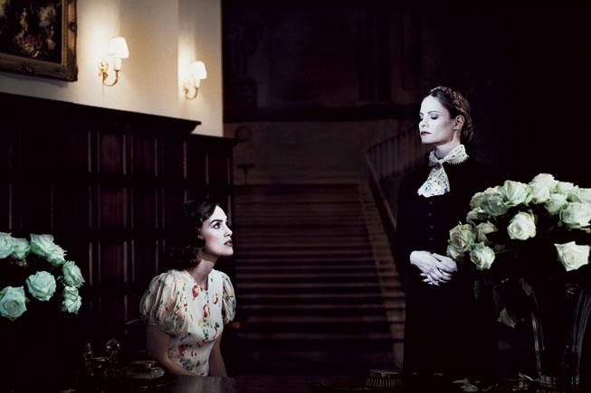 Keira Knightley and Jennifer Jason Leigh recreate a scene from Rebecca. Photograph by Julian Broad.