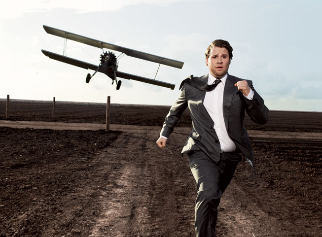 Seth Rogen recreates a scene from North by Northwest. Photograph by Art Streiber.