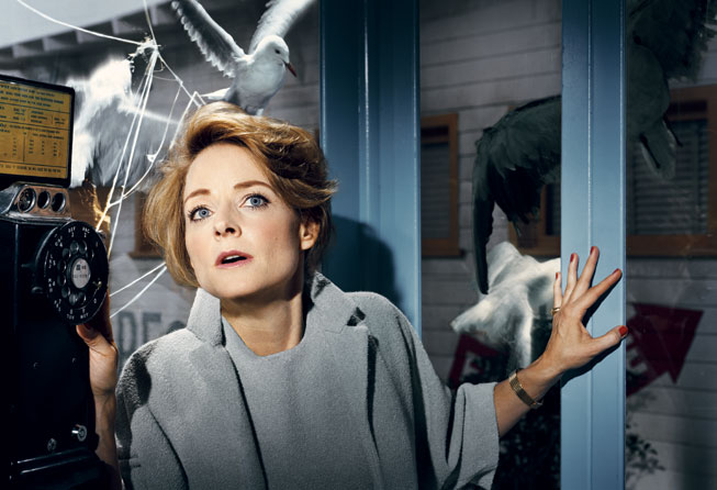 Jodie Foster recreates a scene from The Birds. Photograph by Norman Jean Roy.