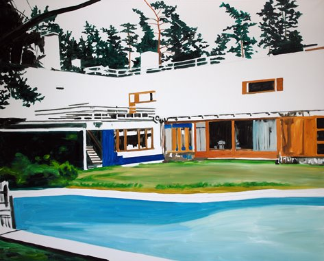 Eamon O'Kane, pool west view morning (after Aalto), oil on canvas, 120 x 150cm (47.2 x 59.1 inches), 2008