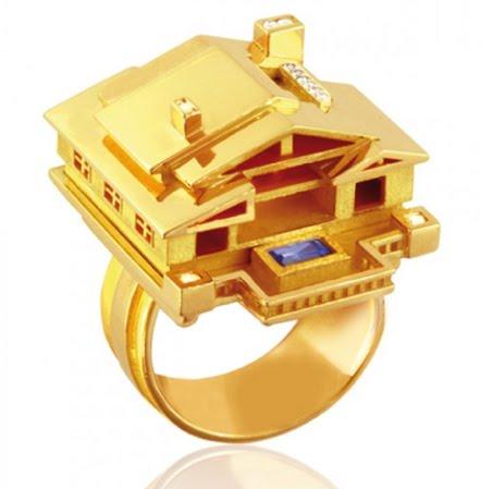 18k gold house ring