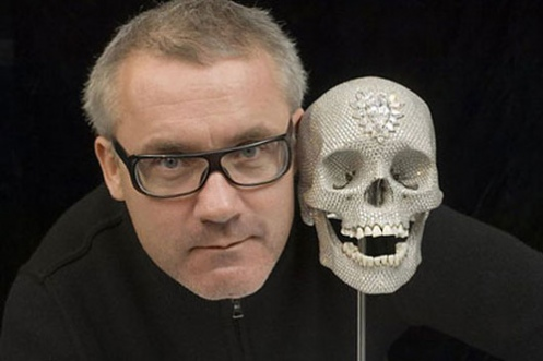 damien hirst with diamond encrusted skull