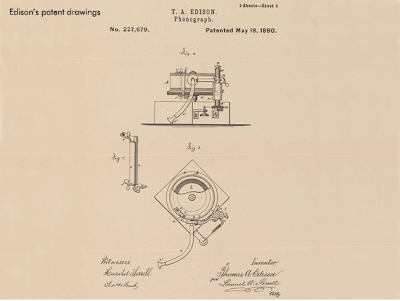 one of Thomas Edison's patent drawings from 1880