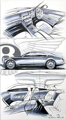 Robin Page, Bentley Mulsanne Sketch on Canvas