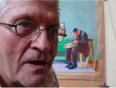 David Hockney (with painting of his father), 2007, photo by Dennis Hopper