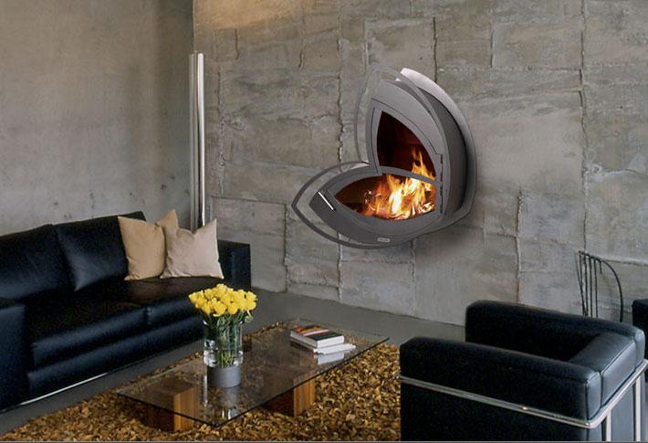 The Icoya wall-mounted fireplace