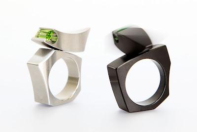 Peridot in stainless steel and blackened steel