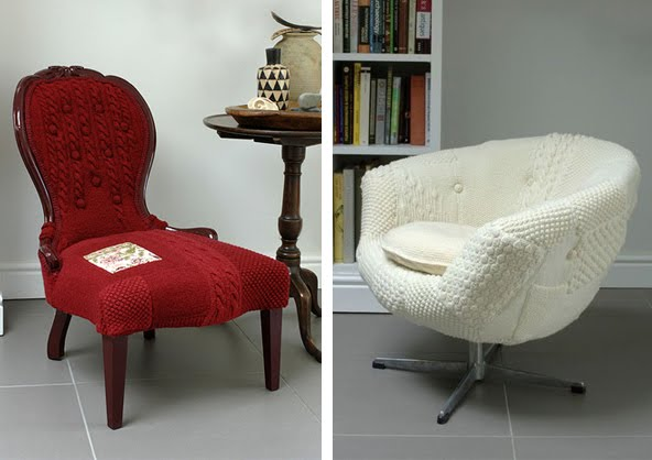 Details like hand covered buttons pom pom accents union jacks painted frames and color combinations best show off the textiles. & Sit On Knits! Custom Upholstered Sweater Chairs By Melanie Porter ...