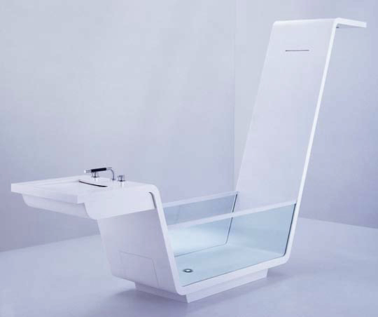 Ebb glass and Corian tub by Us Together