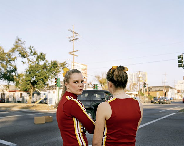 Stranded cheerleaders, photo by Amy Stein