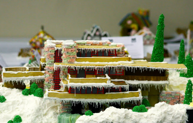 FLW Fallingwater reproduced in Gingerbread