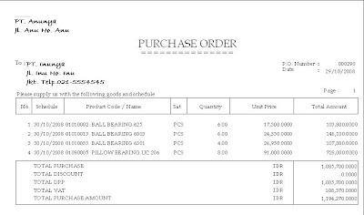Contoh Po Purchase Order Dan