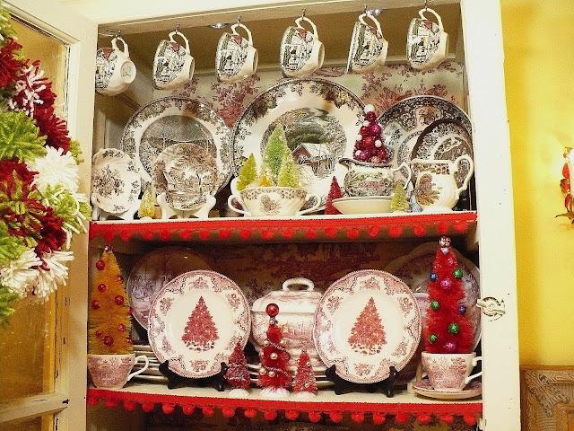 Christmas china cabinet