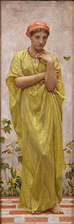 A painting, Albert Joseph Moore's _The Green Butterfly_, of a woman in yellow-green draping robes standing on a brick garden pavement in a thoughtful posture, with a butterfly fluttering on her left.