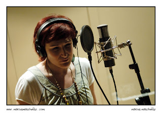 tamara dey singing backing vocals in studio