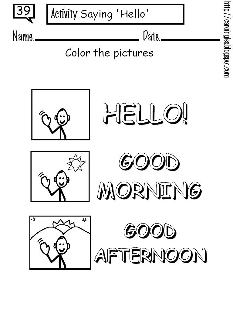 En De Ingles Saludos Colorear Dibujos Para