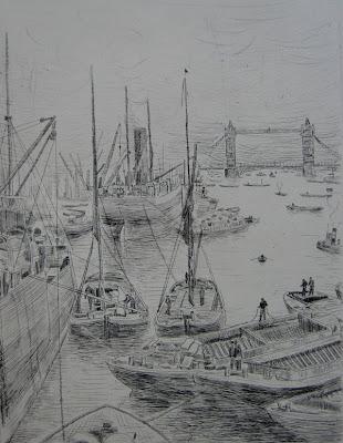 Louis Valdo-Barbey, Londres Original etching, 1949