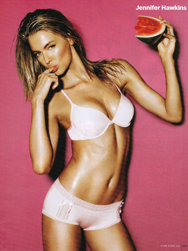 Jennifer Hawkins wet in fhm