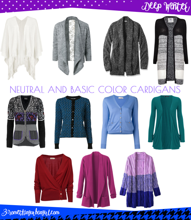 Wardrobe Essential: Neutral and basic color cardigans for Deep Winter women by 30somethingurbangirl.com