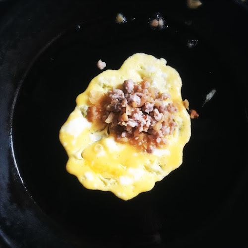 Egg Omelet, Minced Pork, Preserved Radish, 菜脯,  煎蛋角, chinese , recipe, choi poh, preserved turnip