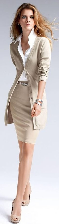 Chic beige monochrome outfit with cardigan and skirt for Soft Autumn women