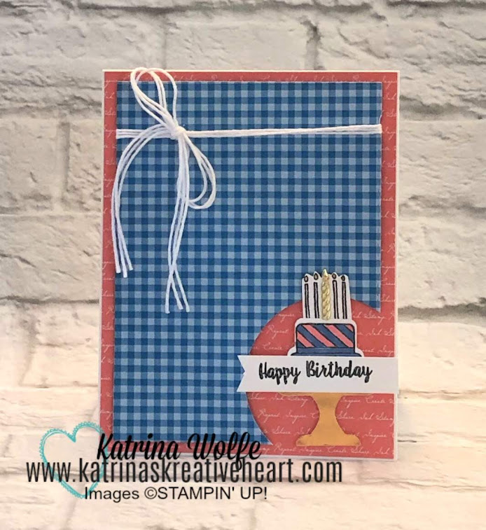 a simple corner cut out card featuring piece of cake by stampin' up!
