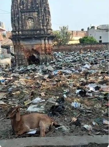 प्राचीन शिव मंदिर को बना दिया कूड़ा घर, भड़के समाजसेवी